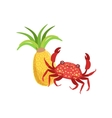 Crab And Pineapple Hawaiian Vacation Classic vector image vector image