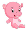 cute baby hippo vector image vector image