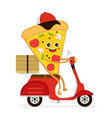 cute smiling funny cute pizza slice rides vector image vector image