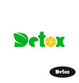 Detox word logo Wide green letters with leaves and vector image
