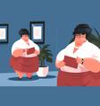 fat secretary in office vector image
