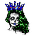 female skull with a crown and long hair queen of vector image