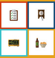 flat icon lifestyle set of beer with chips vector image vector image