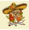 Floral Background with Skull in Sombrero vector image vector image