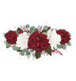 Floral bouquet with garden red white burgundy rose