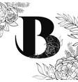 flower alphabet letter b pattern vector image