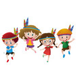 four kids wearing indians headband vector image