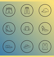 garment outline icons set collection of mini vector image