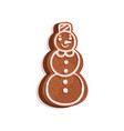 gingerbread in the shape of a snowman christmas vector image vector image
