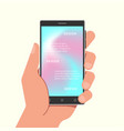 hand holding phone with gradient mesh wallpapers vector image vector image