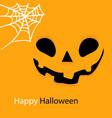 happy halloween spider web and smiling pumpkin vec vector image