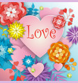 happy valentines day greeting card with flowers vector image vector image
