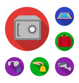 hotel and equipment flat icons in set collection vector image
