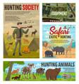 hunting season hunt african safari wild animals vector image vector image
