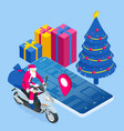 isometric happy santa claus riding a motor scooter vector image vector image