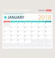january 2018 calendar or desk vector image vector image