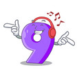 listening music number nine balloon font shaped vector image