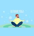 man meditating outdoor yoga in lotus pose leisure vector image