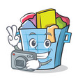 photography laundry basket character cartoon vector image vector image