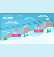 pink cable cars moving above the ground against vector image vector image
