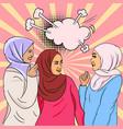 pop-art image three beautiful young islamic
