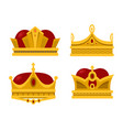 pope tiara and king crown set icons vector image vector image