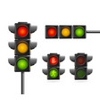 realistic detailed 3d road traffic light set vector image