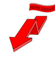 red arrow down sign hand drawn sketch vector image vector image