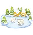 scene with polar bears on snow ground vector image vector image