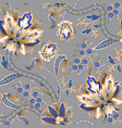 seamless pattern with chinese gold flowers vector image