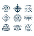 set of isolated icons with fish for fisherman club vector image vector image