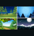 set of nature scene at night vector image vector image
