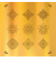 set of thai art design on gold cloth vector image vector image