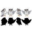 set owl character vector image vector image