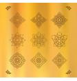 set thai art design on gold cloth vector image vector image
