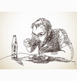 sketch man eating pasta vector image vector image