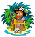 small island and pirate with hook vector image vector image