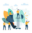 small people with megaphone business promotion vector image