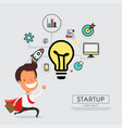 superhero businessman cartoon for start up concept vector image