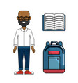 teacher with notebook and backpack tool vector image vector image
