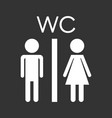 toilet restroom icon on black background modern vector image vector image