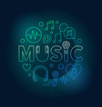 word music with line icons round colored vector image