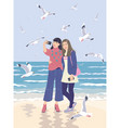 young women taking selfie photo on smartphone at vector image