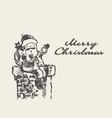 merry christmas card cute drawn santa claus vector image
