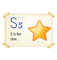 A letter S for star vector image vector image