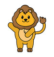 adorable lion wild animal with hand up vector image vector image