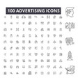 advertising editable line icons 100 set on vector image vector image