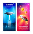 alien spaceship vertical banners vector image