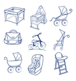 Baby car seat pram bag cradle carriage vector image