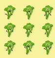 broccoli different emotions cartoon style vector image